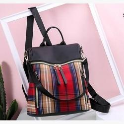 แบบขายดี ทรงสุดฮิต กระเป๋าเป้ผู้หญิงลายสก็อต MM264-แดง (สีแดง)