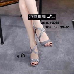 พร้อมส่ง รองเท้าส้นตันรัดข้อเท้าสีดำ ผ้ากลิตเตอร์ ส้นแก้ว แฟชั่นเกาหลี [สีดำ ]