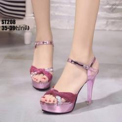 รองเท้าส้นสูงรัดข้อเปิดท้ายสีชมพู LB-ST208-PNK