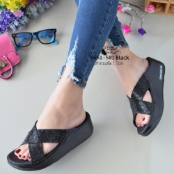 รองเท้าแตะพื้นสุขภาพสีดำ หน้าไขว้สวยหรู 6651-581-ดำ