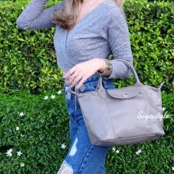 กระเป๋าสะพายแฟชั่น กระเป๋าสะพายข้างผู้หญิง ลองชอมหนัง Style [สีเทา ]