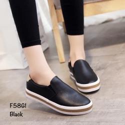 พร้อมส่ง รองเท้าผ้าใบหนังอย่างดี F58G1-BLK [สีดำ]