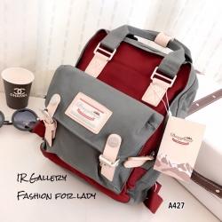กระเป๋าเป้ผู้หญิง กระเป๋าสะพายหลังแฟชั่น วัสดุผ้าร่มคุณภาพพรีเมี่ยม Style Doughnut Macaroon [สีเทา/แดง ]