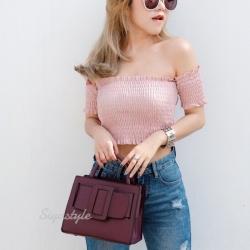 กระเป๋าสะพายแฟชั่น กระเป๋าสะพายข้างผู้หญิง Boyy bag (PU) [สีแดง]