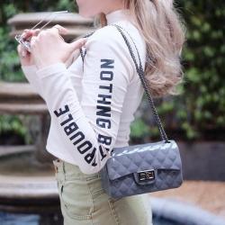 กระเป๋าสะพายแฟชั่น กระเป๋าสะพายข้างผู้หญิง งานสิลิโคนนิ่ม สายโซ่ Mini-Toy [สีเทาเข้ม ]
