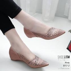 รองเท้าคัชชูสีชมพู ลายฉุลดีเทลเล็กๆ หนัง pu 817-2-ชมพู