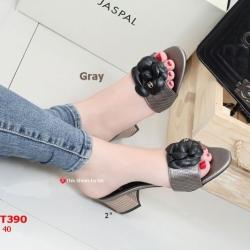 รองเท้าส้นตันเปิดส้น CN CamilliaSandals Style [สีเทา ]