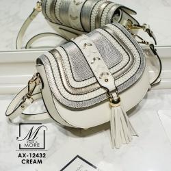 กระเป๋าสะพายกระเป๋าถือ ทรงกลมดีไซน์สุดเก๋ส์ แบรนด์ axixi AX-12432-CRM (สีครีม)
