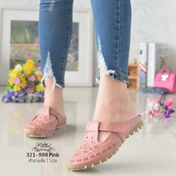 รองเท้าส้นเตี้ยสีชมพู สลิปออนเปิดส้น 321-998-PINK