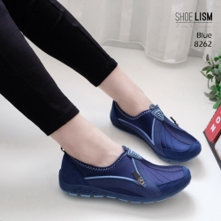 รองเท้าผ้าใบเกาหลีสีน้ำเงิน soft&comfort แต่งซิป พื้นถอดได้(ผ้าใบยืด) 8262-น้ำเงิน