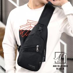 กระเป๋าแฟชั่นงานนำเข้าทรงแบบคาดยอดฮิต MB18-01805-BLK (สีดำ)