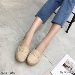 พร้อมส่ง รองเท้าคัทชูส้นเตี้ย N0119D4-CREAM [สีครีม]