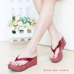 พร้อมส่ง รองเท้าเพื่อสุขภาพ หนีบส้นโฟม M1536-RED [สีแดง]