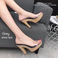 รองเท้าส้นสูงเปิดส้นสีเทา ส้นไม้ หน้าใส LB-3006-92A-GRY