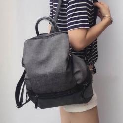 กระเป๋าเป้ผู้หญิง กระเป๋าสะพายหลังแฟชั่น BigBag ใส่ของได้เยอะ [สีเทา ]