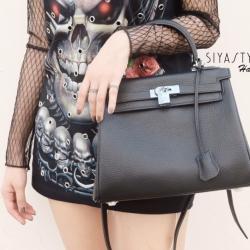 กระเป๋าสะพายแฟชั่น กระเป๋าสะพายข้างผู้หญิง งานหนังแท้ KELLY 28 CM [สีดำ ]