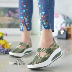 ผ้าใบไร้เชือกสปอร์ตเกิร์ลสีเขียว F7005-เขียว