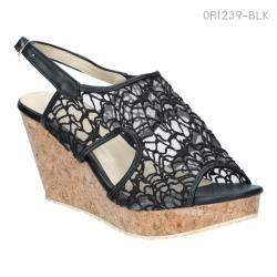 พร้อมส่ง รองเท้าส้นเตารีดแฟชั่น OR1239-BLK [สีดำ]