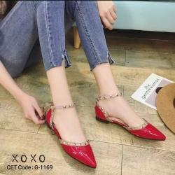 พร้อมส่ง รองเท้าคัทชูส้นแบน สไตล์Valentino G-1169-RED [สีแดง]