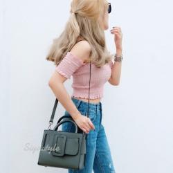 กระเป๋าสะพายแฟชั่น กระเป๋าสะพายข้างผู้หญิง Boyy bag (PU) [สีเขียว]