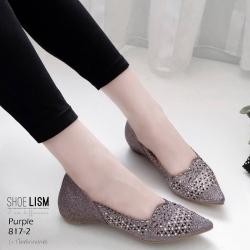 รองเท้าคัชชูสีม่วง ลายฉุลดีเทลเล็กๆ หนัง pu 817-2-ม่วง