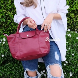 กระเป๋าสะพายแฟชั่น กระเป๋าสะพายข้างผู้หญิง ลองชอมหนัง Style [สีแดง ]