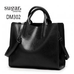 กระเป๋าสะพายผู้หญิงหนังอยู่ทรง มีแบบหนังเงาและหนังด้าน DM302-ดำ (สีดำ)