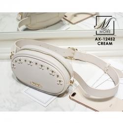 กระเป๋าสะพายกระเป๋าคาดเอว แฟชั่นนำเข้าแบบสุดเก๋ส์ แบรนด์ axixi แท้ AX-12452-CRM (สีครีม)