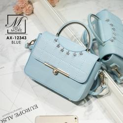 กระเป๋าสะพายกระเป๋าถือ แฟชั่นนำเข้าสไตล์คุณหนู AX-12343-BLU (สีน้ำเงิน)