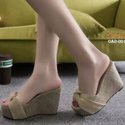 พร้อมส่ง รองเท้าส้นเตารีดสีเหลือง ผ้าปอกระเจา ประดับโบว์ แฟชั่นเกาหลี [สีเหลือง ]