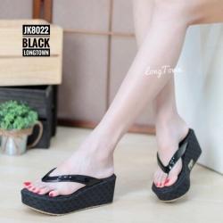 พร้อมส่ง รองเท้าส้นเตารีดสีดำ แบบคีบ พื้นิ่ม แฟชั่นเกาหลี [สีดำ ]