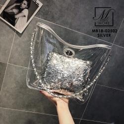 กระเป๋าแฟชั่นงานนำเข้าแบบวัสดุพลาสติกใสแต่งลาย MB18-02502-SIL (สีเงิน)