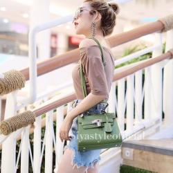 กระเป๋าสะพายแฟชั่น กระเป๋าสะพายข้างผู้หญิง Mini Kelly Pu [สีเขียว]