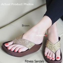 พร้อมส่ง รองเท้าแตะเพื่อสุขภาพสีน้ำตาล Crystal Fitness Soft แฟชั่นเกาหลี [สีน้ำตาล ]