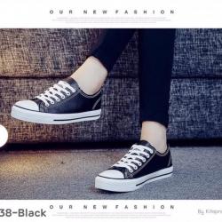 พร้อมส่ง รองเท้าผ้าใบสไตล์คอนเวิร์ส 1738G1-BLK [สีดำ]