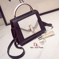 กระเป๋าสะพายแฟชั่น กระเป๋าสะพายข้างผู้หญิง 2tone วัสดุหนังPUหนาอย่างดี [สีดำ ]
