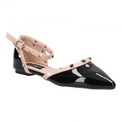 พร้อมส่ง รองเท้าส้นเตี้ย K9018-BLK [สีดำ]