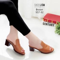 รองเท้าเตารีดสีน้ำตาล หน้าทรงปราด้าส้นแมกซี่ 957-92-น้ำตาล