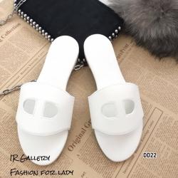รองเท้าแตะหนัง Style Brand Herme DD22-ขาว (สีขาว)