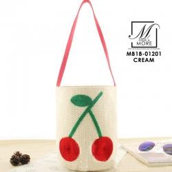 กระเป๋าสะพายกระเป๋าถือ แฟชั่นนำเข้างาน handmade แบบถักแต่งรูปเชอรี่ MB18-01201-CRM [สีครีม]