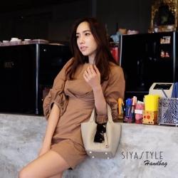 กระเป๋าสะพายแฟชั่น กระเป๋าสะพายข้างผู้หญิง แบบคล้องแขน หนังแท้ PICOTIN 18' [สีน้ำตาล ]