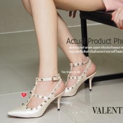 พร้อมส่ง รองเท้าส้นสูงรัดส้นสีทอง VALENTINO Rockstud Heel Style แฟชั่นเกาหลี [สีทอง ]