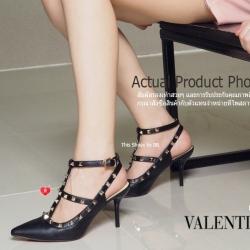พร้อมส่ง รองเท้าส้นสูงรัดส้นสีดำ VALENTINO Rockstud Heel Style แฟชั่นเกาหลี [สีดำ ]