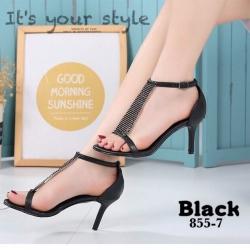 พร้อมส่ง รองเท้าส้นเข็มหุ้มข้อสีดำ ผ้าสักหราด แฟชั่นเกาหลี แฟชั่นเกาหลี [สีเบจ ]