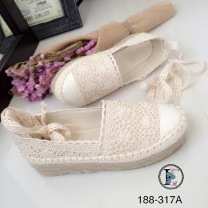 รองเท้าลูกไม้ส้นตึก รัดข้อ 188-317A-ครีม (สีครีม)