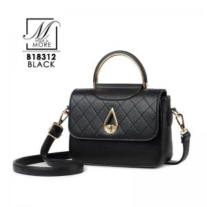 กระเป๋าสะพายกระเป๋าถือ แฟชั่นนำเข้างานเรียบหรู B18312-BLK [สีดำ]