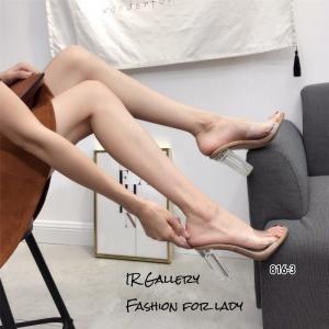 รองเท้าส้นสูงสวม หน้าใส ส้นใส 816-3-กากี (สีกากี)