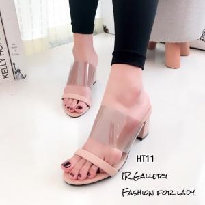 รองเท้าส้นสูงแบบสวม พลาสติกหน้าใส HT11-ครีม (สีครีม)