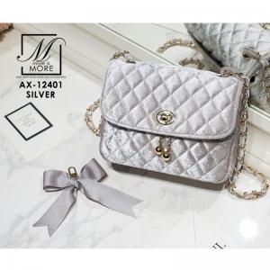 กระเป๋าสะพายกระเป๋าถือ แฟชั่นนำเข้าสไตล์เกาหลี AX-12401-SIL [สีเงิน]