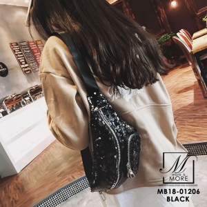 กระเป๋าสะพาย กระเป๋าคาดเอวกระเป๋าคาดอก แฟชั่นงานนำเข้าแบบคาดปักเลื่อม MB18-01206-BLK [สีดำ]